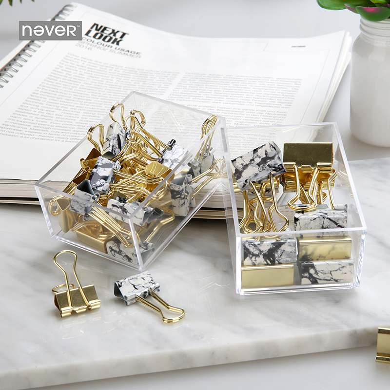 Never Marble Golden Binder Clips Metal Clips Stationery Paper Clips Klips Fashion Office Accessories School Supplies 19mm/25mm deli new colorful candy paper clips 200pcs a barrels office stationery metal clips box pin binding supplies learn student clips