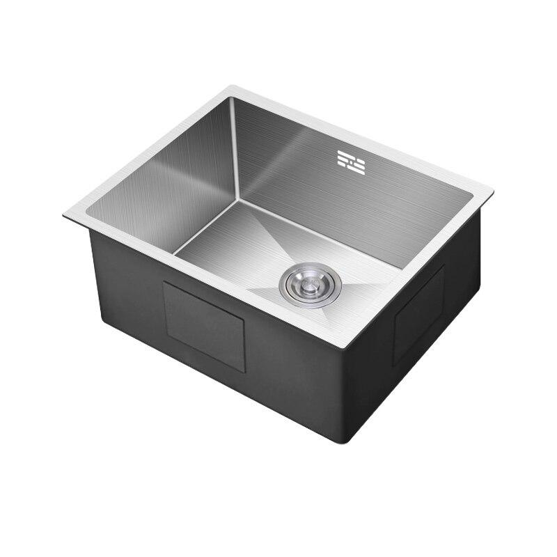 304 acier inoxydable manuel évier simple auge Mini bar petit lave-vaisselle balcon cuisine table bas bassin bol