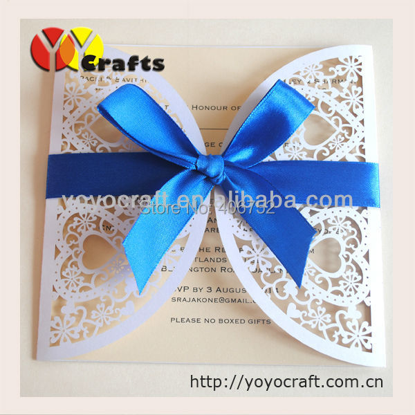 Couple hearts white pearl paper laser cut korean wedding invitation couple hearts white pearl paper laser cut korean wedding invitation card with sea blue bow romantic stopboris