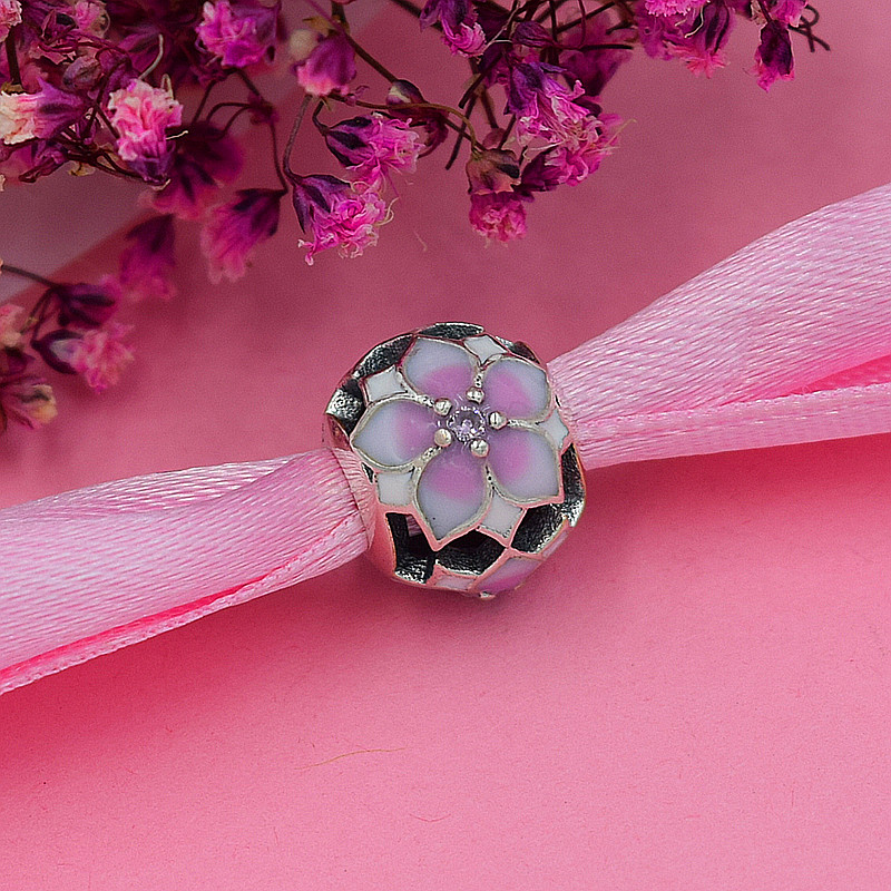 Yanxizao New Silver 925 CZ Charm Beads Fit Pandora Style Pink Flower Round Bracelet Pendant Necklace DIY Jewelry Originals GW378