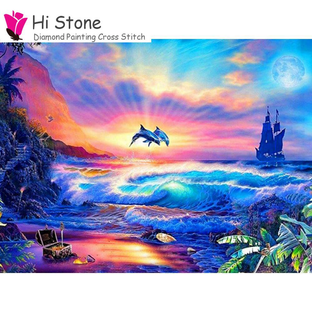 DIY 5D Алмазная мозаика Животные дельфин море парусник алмазов картина вышивки крестом Алмаз Вышивка Полный Стразы подарок