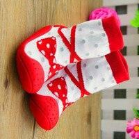 3 זוגות גרבי רצפת גרבי פעוט גרבי עניבה וקשת תחתון רך עם סוליות גומי נעליים פעוטה תינוק להחליק אנטי XP3012