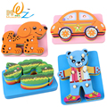 Деревянная игрушка подарок ребенку головоломки комплект колонке серии автомобилей медведь крокодил 4 слоя