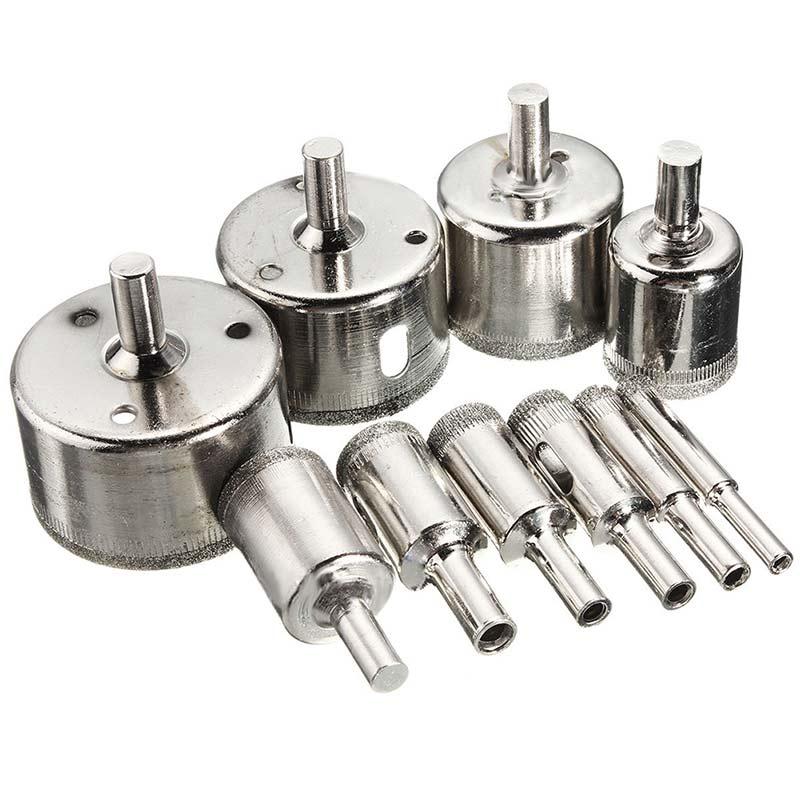 10 Pcs/ensemble 8-50mm Diamant Enduit Core Scie Forets Outil Cutter pour Carreaux De Marbre En Verre-M25