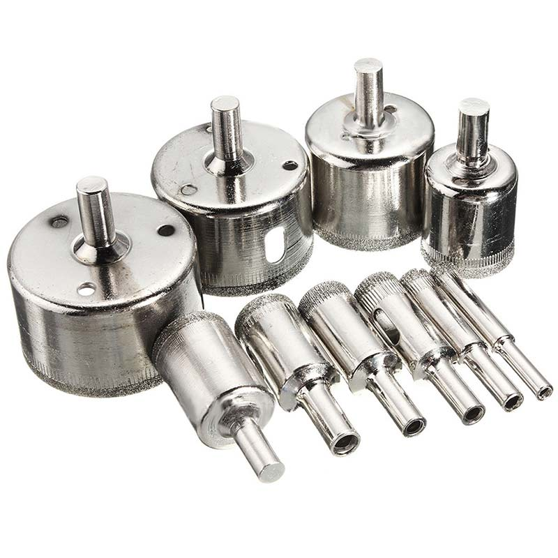 10Pcs/set 8-50mm Diamond Coated Core Hole Saw Drill Bits Tool Cutter for Tiles Marble Glass --M25