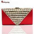 New Upscale Women's Handbag. Luxury Crystal Diamond Bridal Silk Day Clutches Purse. Shoulder Messenger Evening Bag Multicolor