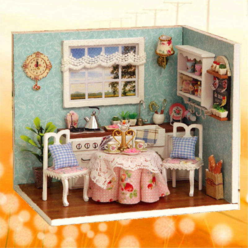 cute wooden dining room dollhouse miniature diy model kit with cover and led furnitures handcraft miniature