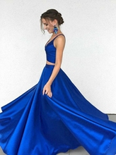 Bbonlinedress 2019 2-Piece Prom Dress New Arrival A Line Gowns Crop Top Satin Evening Formal Party Dresses