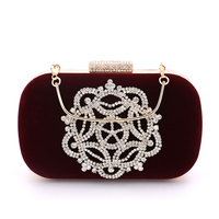 Velvet diamonds wine red evening bags mini purse clutch with chain shoulder evening bag for wedding
