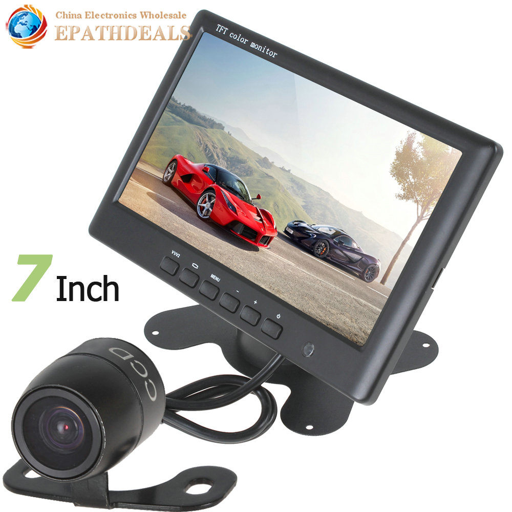 7 Inch Color HD TFT LCD Car Rear View Reverse Monitor 800 x 480 2 Video Input + 18mm Color Auto Rearview Backup Parking Camera