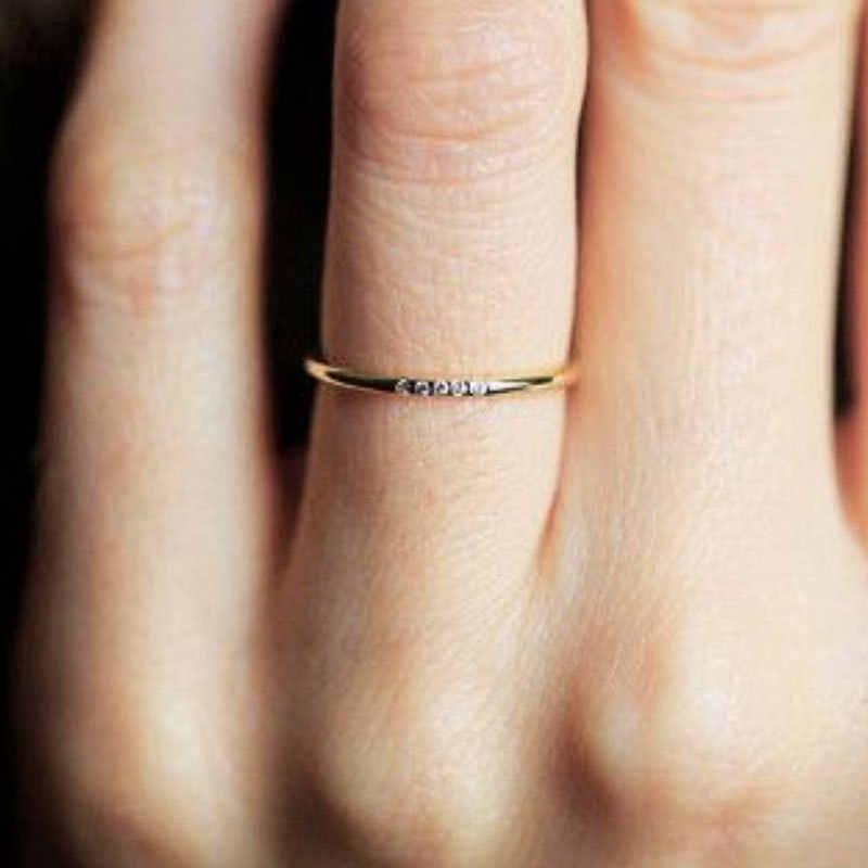 แหวนทองแดง Rose Gold แหวนเงินสำหรับแหวนหมั้นไม่เคย Fade แหวน