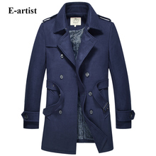 E-artist Men's Double Breasted Wool Long Trench Coat Male Warm Winter Thicken Jackets Outerwear Overcoats Plus Size 5XL N36
