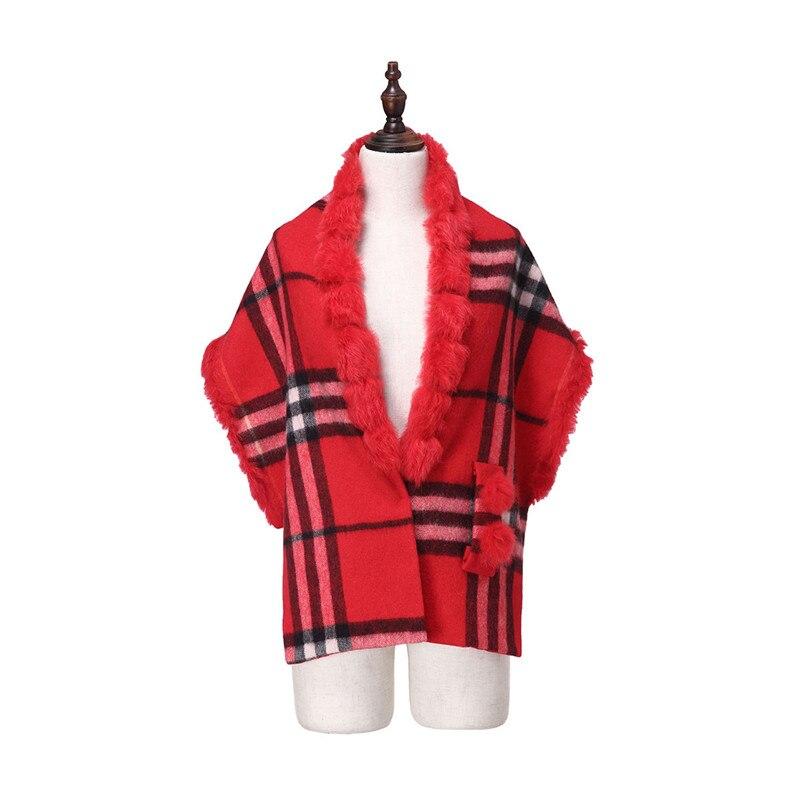 ZY87036 2016 nouveau Design spécial mode femmes automne hiver géométrique écharpe laine avec col de lapin de luxe enveloppes Poncho - 3