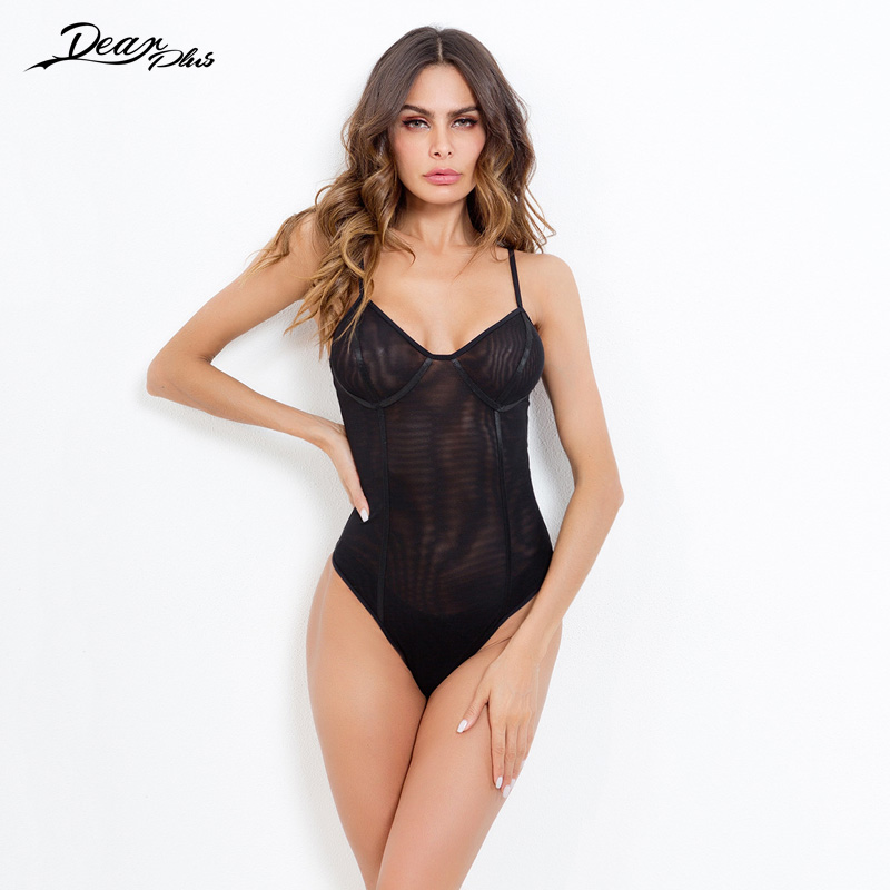 Women Fashion Mesh See Through Sexy Bodysuit Elegant Spaghetti Strap Backless Slim Casual Rompers Tight Overall