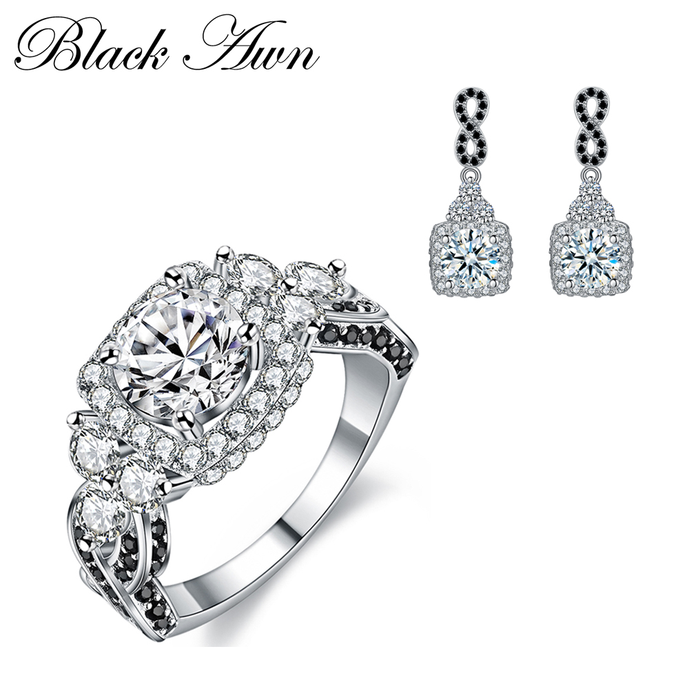BLACK AWN 925 Sterling Silver Fine Jewelry Sets Trendy Engagement Earring for Women Wedding Ring