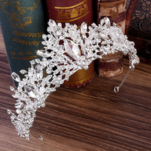 Luxury Crystal Rhinestones Baroque Crown Silver Color Princess Bridal Tiaras Pageant Crowns Bride Wedding Hair Accessories