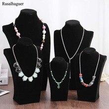 Купить с кэшбэком Classic Necklace Stand Jewelry Black Model Mannequin Display Necklace Pendants Holder Jewelry Organizer Shelf Neck Bust Showcase
