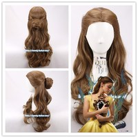 Movie Beauty And The Beast Princess Belle Wig Emma Waston Long Wavy Wig Cosplay Role Play