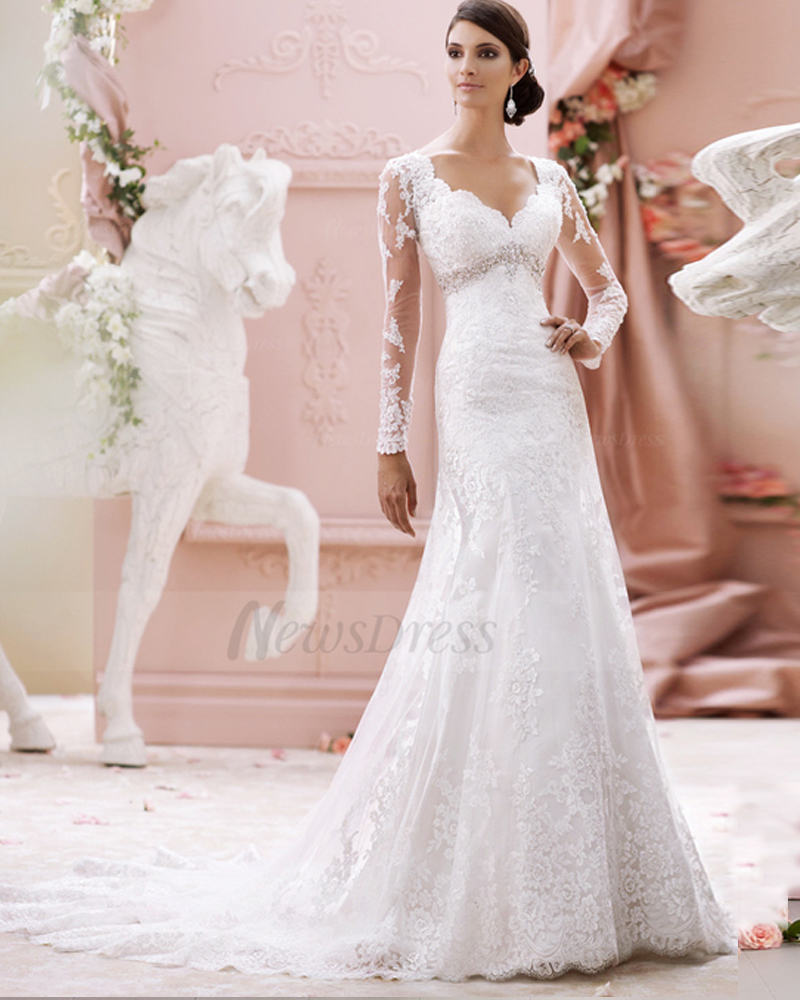 Online buy wholesale simple long sleeve wedding dresses for Modern long sleeve wedding dresses
