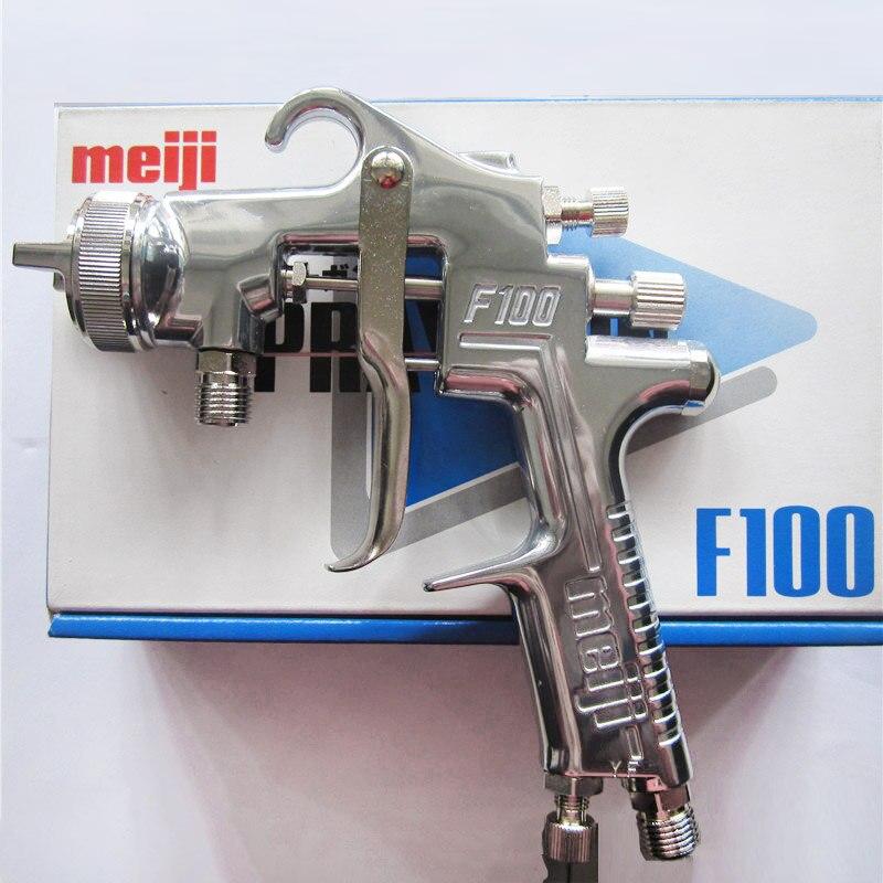 Original Japão Meiji F-100 pistola manual, tipo de alimentação de pressão sem copo, 0.8 1.0 1.3 1.5 milímetros de tamanho do bocal F100 pistola de pintura