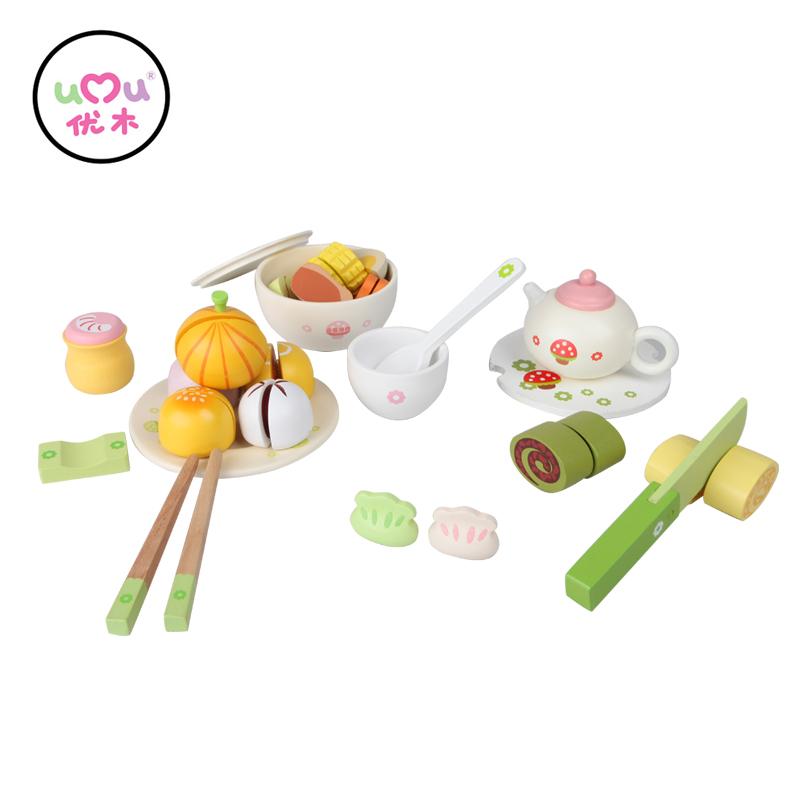[Umu] Play Kitchen Food wooden Toys Girl Hongkong Style-Breakfast Time Children's Toys  Early Educational Classic Toy Pretend free shipping baby toys picnic basket food set wooden play food set pretend play kitchen toys gift