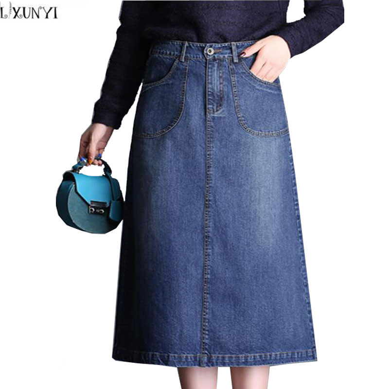 LXUNYI Women Denim Skirt 2018 Autumn New A Line Thin Fashion Midi Long Plus Size jeans Skirt High Waist Casual Denim Skirt M-4XL dabuwawa autumn women fashion elegant skirt streetwear casual designer a line high waist midi skirt faldas mujer d17csk032