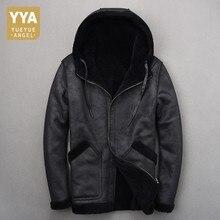 Chaqueta de piel de oveja con capucha para hombre, abrigo informal de piel de oveja de manga larga cálida de alta calidad para invierno