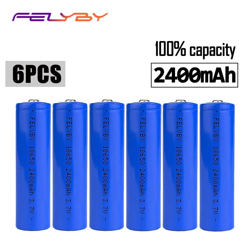 FELYBY 6 pièces batterie rechargeable marque 18650 li ion batterie 2400 mAh 3.7 v lithium 18650 batteries Pour lampe De poche