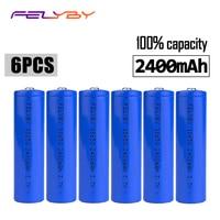 FELYBY 6pcs rechargeable battery brand 18650 li ion battery 2400mAh 3.7v lithium 18650 batteries For flashlight