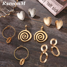 Round Geometric Alloy Heart Drop Earrings For Women Vintage Gold Dangle Copper Za Shell Earring Boho 2019 Female Fashion Jewelry(China)