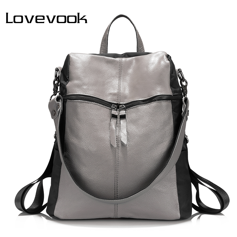 LOVEVOOK women women backpack genuine leather school backpacks for teenage girls oxford shoulder bag large capacity travel bags brand women backpack pu leather school backpacks for teenage girls shoulder bag large capacity travel bags