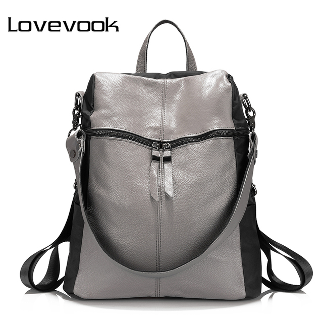 a0cc332792a9 US $26.19 45% OFF|LOVEVOOK women women backpack genuine leather school  backpacks for teenage girls oxford shoulder bag large capacity travel  bags-in ...