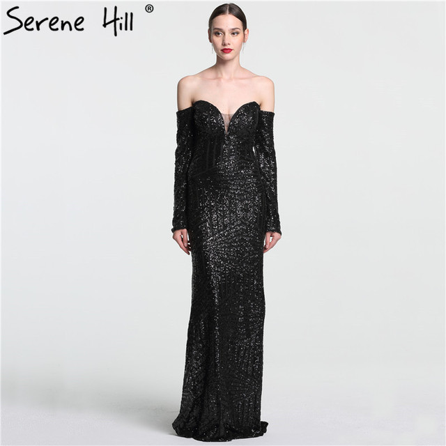 Sexy Off Shoulder Long Sleeve Sequined Long Evening Dresses 2018 Black  Floor Length Prom Dress Party Dubai Real Photo BLA6128 f2ca6305e790
