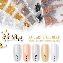 5 Colors Nail Beads Metal Art Decoration Mixes 6 Size Alloy 3D Silver Gold Color Tiny NDM