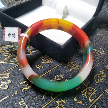 Send A certificate natural colorful jade bracelets carved color 54-61mm female bracelets jewelry gifts фото