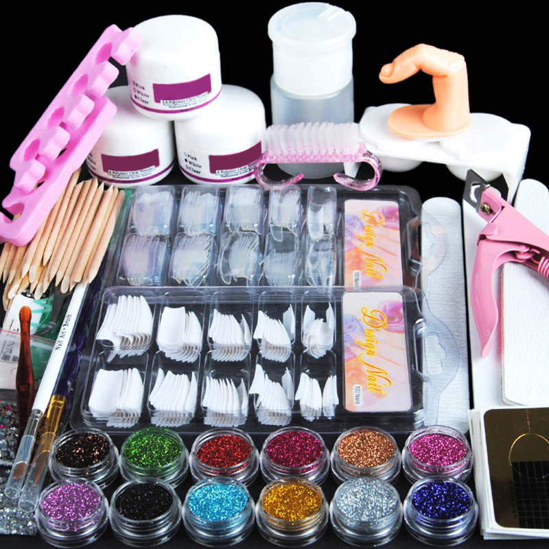 цена на Acrylic Nail Art Manicure Kit 12 Colors Nail Glitter Powder Decoration Acrylic Pen Brush Nail Art Tool Kit Sets For Beginners