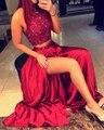 Dos Piezas de Color Rojo Vestidos de Baile 2017 Beads Cuello Alto Cristales satén largo rajó mujeres fiesta formal dress vestidos de graduación WH97