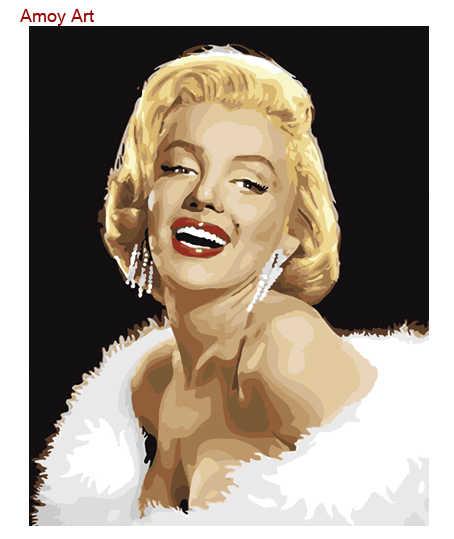 الصورة فرملس ديي ديي النفط اللوحة الرقمية مثير مارلين مونرو 40 50 الطلاء حسب عدد مجموعات هدية فريدة