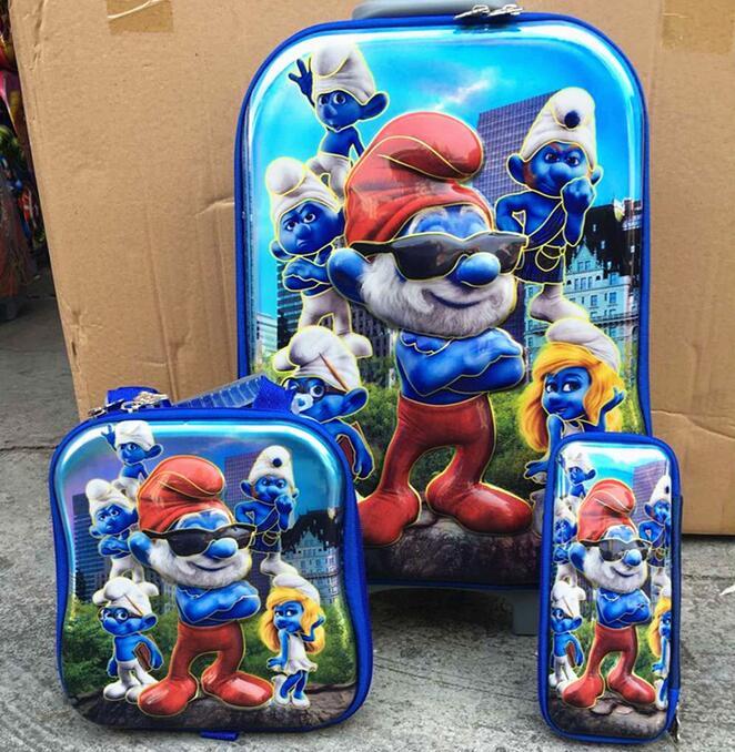 ФОТО New  cartoon  6D  travel suitcase sets   (lunch box + pen boxes+trolley luggage ) 16 inch EVA wheel bag trolley