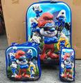 New  cartoon  6D  travel suitcase sets   (lunch box + pen boxes+trolley luggage ) 16 inch EVA wheel bag trolley