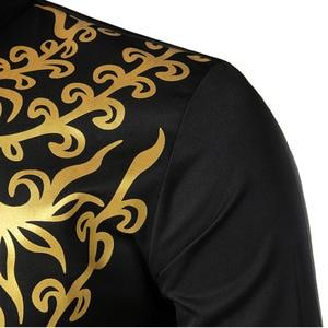 Image 5 - Muslim Blouse Fashion Bronzing Shirts Talit Novelty Gilding Shirts Islam Leisure Pullover Long Sleeve Moslim Kaftan Clothing Men
