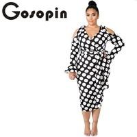 Gosopin Plus Size Autumn Ladies Office Dress Women 5XL Dot Elegant Dress  Bow Tie Bodycon Cold db08653d450b