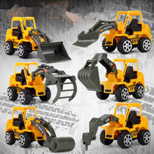 New six types of construction vehicles road car drilling car bulldozer grab bucket truck excavator intelligence children's toys(China)