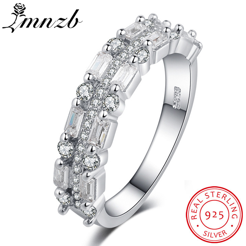 LMNZB Luxury Full Crystal Zircon Rings for Women 925 Sterling Silver Jewelry Promise Wed ...