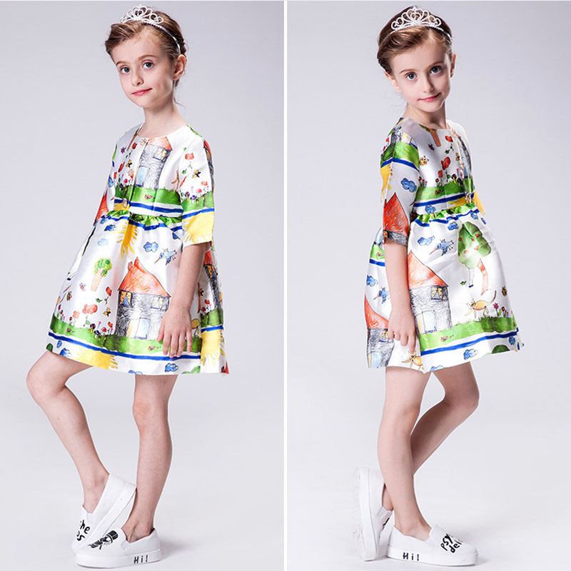 New Fashion Teenage Girls Dresses European Style Printing Robe Enfant Mariage Spring And Autum Kids Dresses For Girls