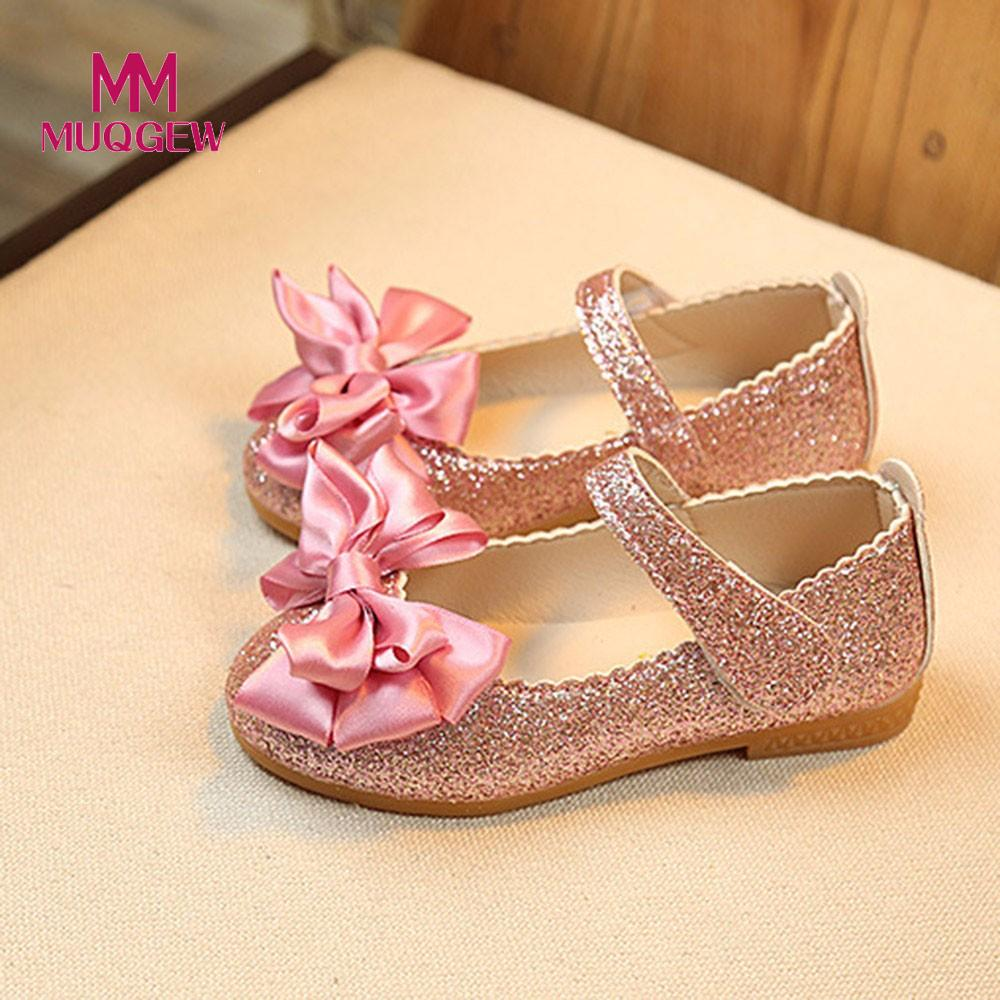 MUQGEW Children Girl New Spring Autumn Fashion Princess Bowknot Dance Shoes Nubuck Leather Single Shoes For Baby Girls Kids 20 kids sneaker girls dance shoes pu baby princess flat flowers single shoes spring summer autumn children student leather shoes