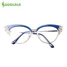 SOOLALA Anti Blue Light Glasses Women Cateye Rhinestone Eyeglass Frames Computer Reflective Blocking
