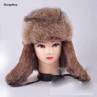Yeni erkek/kadın 100% Gerçek Tavşan Kürk Sıcak Şapka/Rus Bombacıları Guard Yanak Şapka kap ücretsiz nakliye hızlı teslimat hediye