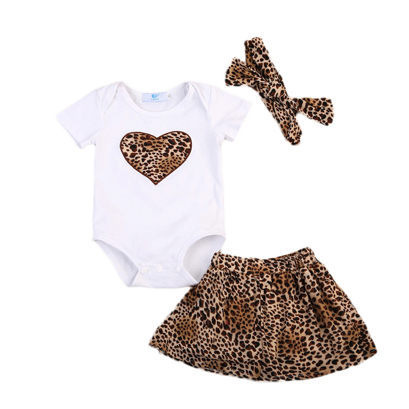 3Pcs Newborn Kids Baby Girls Clothes Short Sleeve Romper Leopard Skirt Dress Outfits Baby Clothing Set 0 To 24M