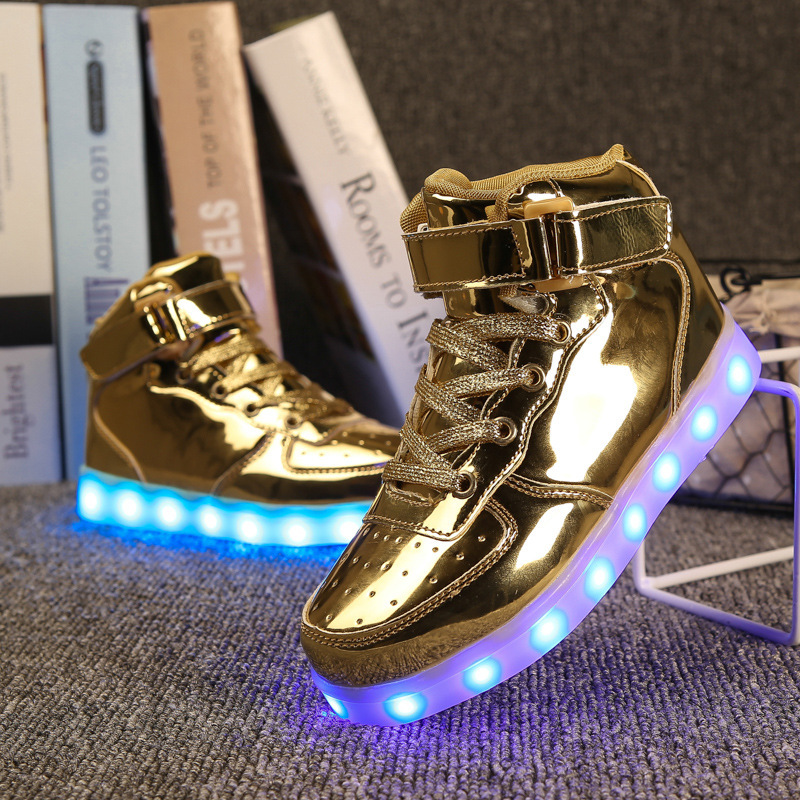 2017 Glowing Sneaker for Boys USB Charger LED Shoes Luminous Sneakers LED Sports Shoes Lighting Up Kid LED Shoes for Boys Girls new led glowing sneakers kids shoes 7 colors usb charge luminous sole with cute wings sneakers light up children shoes